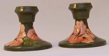 Moorcroft Coral Hibiscus Candlesticks (a pair): Amazon co uk