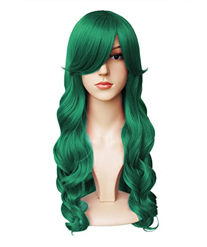 Green Costume Wigs (Another Me Wig Women's Long Big Wavy Hair 25 Inches Forest Green Ultra Soft Heat Resistant Fiber Party Cosplay)