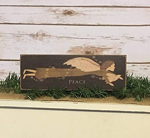 Peace Folk Art Angel,Christmas Angel,Rustic Christmas Decor,Primitive Christmas Decor,Primitive Sign,Wood Angel Sign 4 x 12 inch