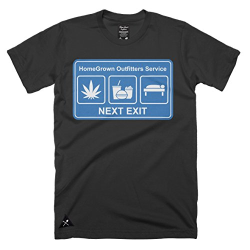 Homegrown Outfitters Men's Next Exit t-shirt - 100% cotton (Large , Black ) Exit Tray