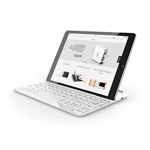 Anker Ultra-Thin Deutsche Bluetooth Tastatur Keyboard Case Cover für Apple iPad Air - Smart Cover mit eingebauter 800mAh Li-ion Batterie (Weiß)