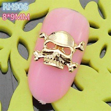 10PCS RH906 New Design Golden Cool Halloween Skull Style 3D Alloy Nail Art Decoration nail salon DIY ()