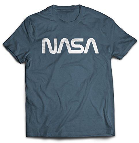 Revel Shore Men's Retro Vintage NASA Worm Logo Premium Soft T-Shirt (Large, Indigo ()
