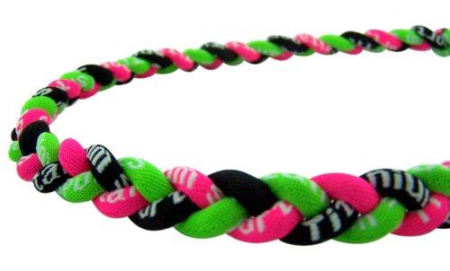 "Titanium Sport Baseball / Softball Twisted 3 Rope Tornado Braid Necklace 20"" Neon Black Green Pink"