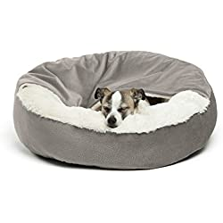Best Friends by Sheri Cozy Cuddler, Grey - Luxury Dog and Cat Bed with Blanket for Warmth and Security - Offers Head, Neck and Joint Support - Machine Washable
