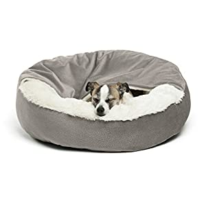 Best Friends by Sheri Cozy Cuddler, Grey – Luxury Dog and Cat Bed with Blanket for Warmth and Security – Offers Head, Neck and Joint Support – Machine Washable