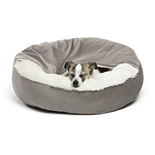 Best Friends by Sheri Cozy Cuddler, Gray – Luxury Dog and Cat Bed with Blanket for Warmth and Security - Offers Head, Neck and Joint Support - Machine Washable