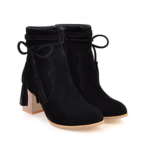 Ankle Boots BalaMasa Fringed ABL10654 Bows Urethane High Womens Black P1FqE