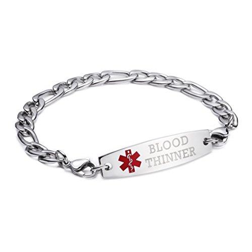 linnalove-Stainless Steel Figaro Chain lnterchangeable Medical Alert Bracelets-Pre-Engraving(Blood THINNER/7.5'') by linnalove