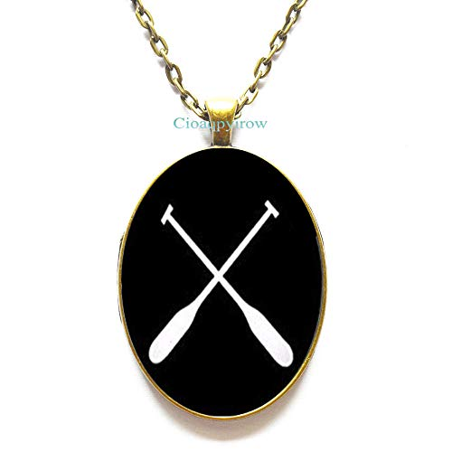 Casual Sports Necklaces,Rowing oars Crossed Necklaces Casual Sports Necklaces, Oval Pendant Photo Jewelry,HO0E399