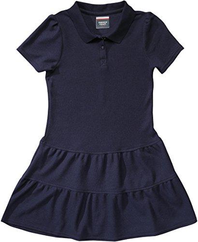 French Toast Girls' Ruffled Pique Polo Dress - Navy - Medium (7/8)