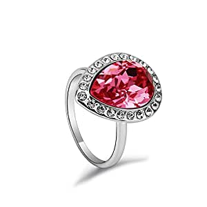 ZMC Women's Rhodium Plated Alloy Swarovski Crystals and Austrian Crystals Fashion Ring - M