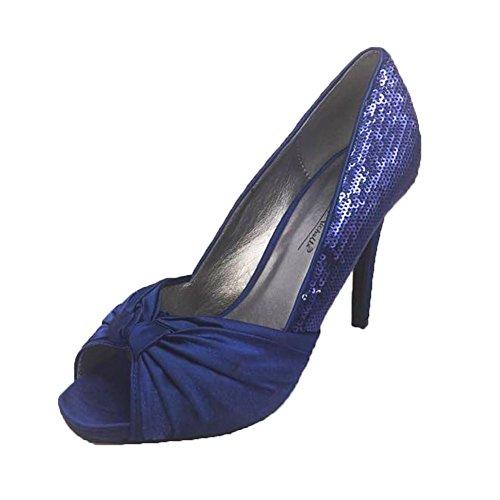 Damen / Damen satin und Pailletten Peep toe Pumps Navy-Blau