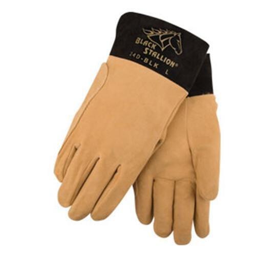 Black Stallion REV24D-BLK Split Deerskin TIG Welding Gloves, Small by Black Stallion