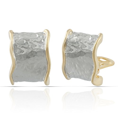 JanKuo Jewelry Gold Plated Hammered Texture Style Two Tone Half Semi Hoop Clip On Earrings (Tone Hoop Two Half)