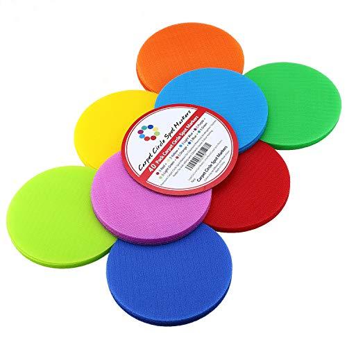 Colour Carpet - Classroom Carpet Circle Spots Markers - 40 Pack 8 Colors 5