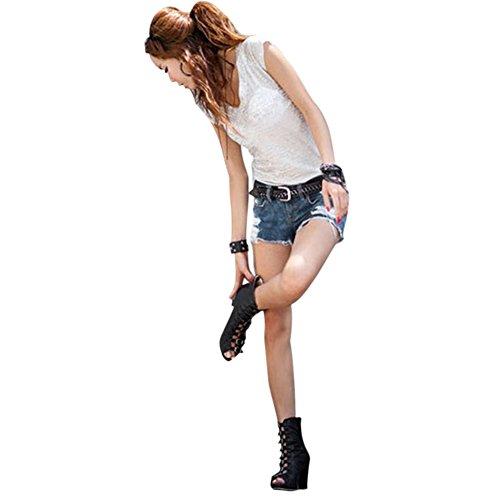 Jolisson Denim Et Casual Clubwear Mini Pantalon Fille Vacance Short Short Bleu Skinny Taille Court Basse Mode Bleu Plage Hot Trou Jeans Femme 0WqFTrw0B