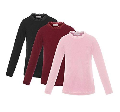 ReliBeauty Girls Long Sleeve Ribbed Basic T-Shirts, 5-6, Black/Burgundy/Pink