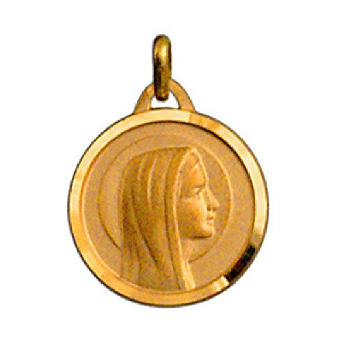 So Chic Jewels - 18k Gold Plated Virgin Mary Our Lady Profile 3D Round Religious Medal Pendant