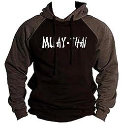 Men's Muay Thai Fighter V442 Black/Charcoal Raglan Baseball Hoodie Sweater X-Large Black