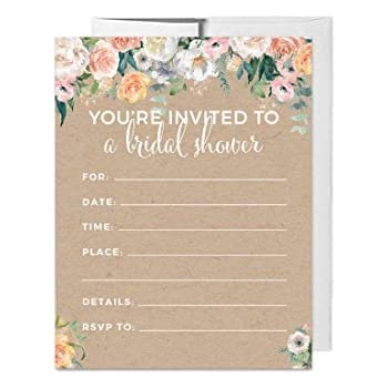 Andaz Press Peach Coral Kraft Brown Rustic Floral Garden Party Wedding Collection Blank Bridal