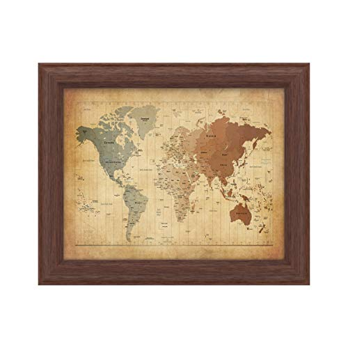 Trademark Fine Art Time Zones Map of The World by Michael Tompsett, Wood Frame 11x14, Multi-Color