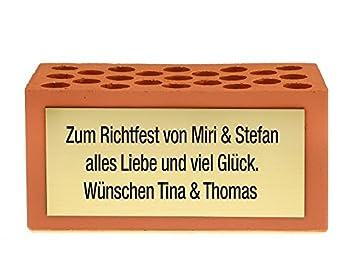 4you Design Grundstein MIT WUNSCHTEXT - zum Hausbau, Einzug, Richtfest -  Geschenk Geldgeschenk & Geschenkidee zur Einweihung