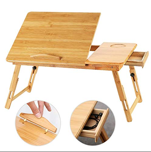 (Laptop Stand, Large Bed Tray Adjustable Lap Desk Tilting Top Foldable Table Multi-Tasking Stand Breakfast Serving Bamboo Laptop Desk for Bed, Sofa, Movie, Reading, Breakfast)