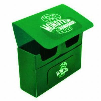 Collector Deck Box - Monster Protectors Trading Card Double Deck Box with Self-locking Magnetic Closure - Green (Fits Yugioh, Pokemon, Magic the Gathering Cards)