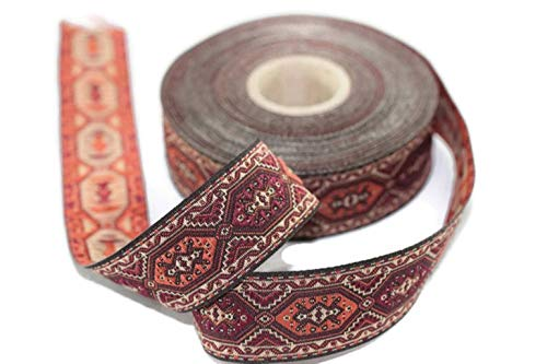 (10 Yards 1.37 inch Multicolor Woven Ribbon, Jacquard Trim, Authentic Ribbon, Jacquard Ribbons, Medieval Ribbon, Sewing Trim)
