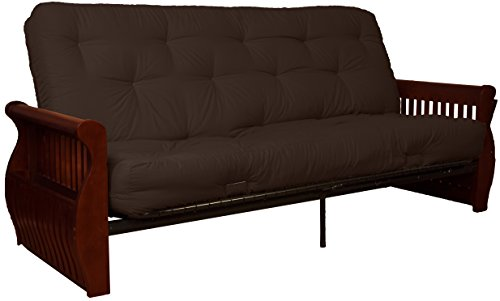 Twill Sleeper Sofa - Epic Furnishings Laguna 8-Inch Loft Inner Spring Futon Sofa Sleeper Bed, Queen-size, Mahogany Arm Finish, Twill Brown Upholstery