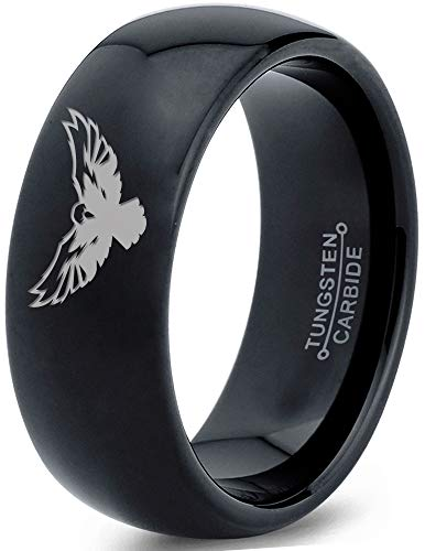 Zealot Jewelry Tungsten Falcon Eagle Bird Band Ring 8mm Men Women Comfort Fit Black Dome Polished Size 8