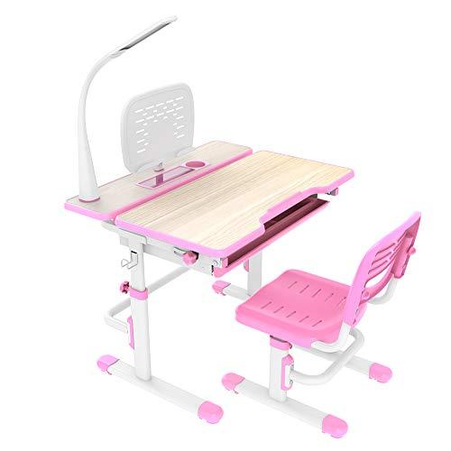 VIVO Deluxe Height Adjustable Children's Desk & Chair Kids Interactive Work Station Pink (DESK-V402P) ()