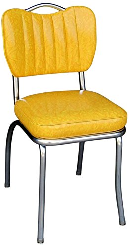 Richardson Seating 4260CIY Handle Back Retro Kitchen Chair in Single Tone Channel Back with 2″ Box Seat, Cracked Ice Yellow For Sale