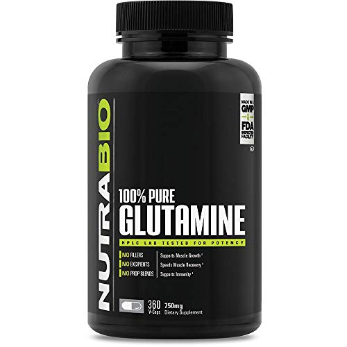 NutraBio 100% Pure L-Glutamine (750 mg) - 360 Vegetable Capsules by NutraBio
