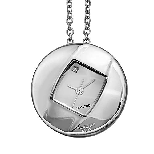 (Akribos XXIV Women's Diamond Pendant Watch - Long Stainless Steel Chain Necklace with Elegant Stainless Steel Square Watch, Glossy Dial - AK1053SS)