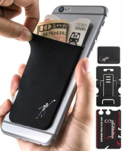 Phone Wallet - Adhesive Card Holder - Cell Phone Pouch - Stick on Lycra Pocket by Gecko - Carry Credit Cards and Cash - (Football Cell Phone Holder)