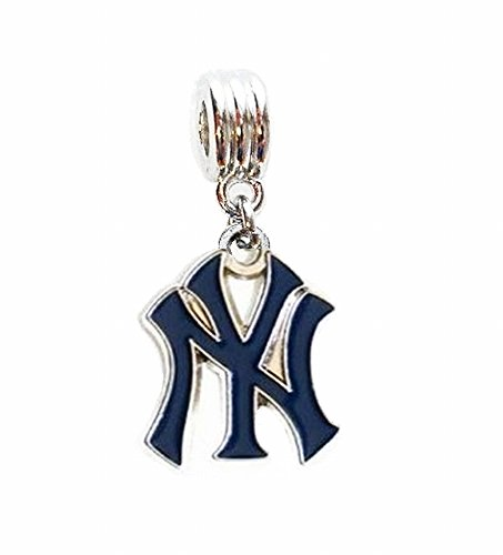 New York Yankees Necklace (NY NEW YORK YANKEES BASEBALL TEAM CHARM SLIDER PENDANT ADD TO YOUR NECKLACE EUROPEAN BRACELET DIY PROJECTS ETC.)