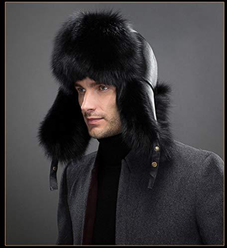 61cm 55 Tejido Sombrero Orejeras Cálidas Lana De Grueso Negro Código Felpa Invierno Gorro FA0vxwPnqv
