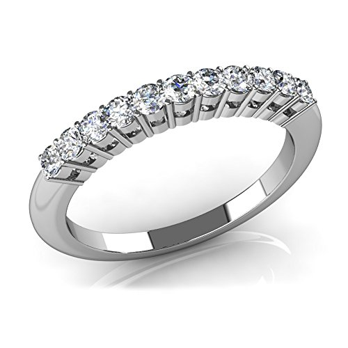 0.55 ct Round Cut Diamond Classic Wedding Band in 18 kt White Gold