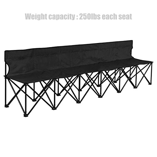 Portable Folding 6 seats Chair Outdoor Backyard Camping Picnic Sports Game Strong Steel Frame Lightweight Design Durable Oxford-Fabric Foldable Bench - Black - Sports In Stores Orlando