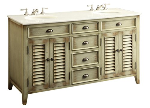 "Double Dresser Cottage - 60"" Cottage look Abbeville Double Sink Bathroom Vanity Model CF88324-60W"