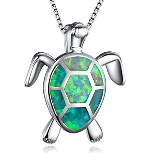 (Hermosa Mom Gifts 925 Sterling Silver Sea Turtle Blue Opal Women Pendant Necklace Earrings (Turtle Necklace-Green))