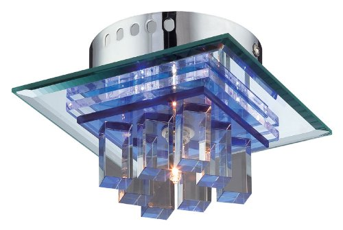 Lite Source LS-5612 Flush Mount with Clear Glass Shades, Steel Finish