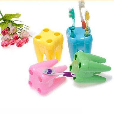 QINF Tooth Shape Toothbrush Holders(Random Color)