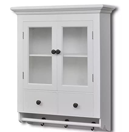 Amazon Com Wooden Kitchen Wall Cabinet With Glass Door