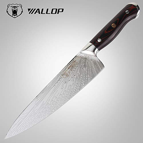 8.5Japanese HC Stainless Steel Chef Knife Unique Solar Pattern Well Balance Kitchen Vegetable Salad Chopper Cutter Knife Meat Cleaver Full Tang Blade G10 Handle for Professional WALLOP Dragon Bone