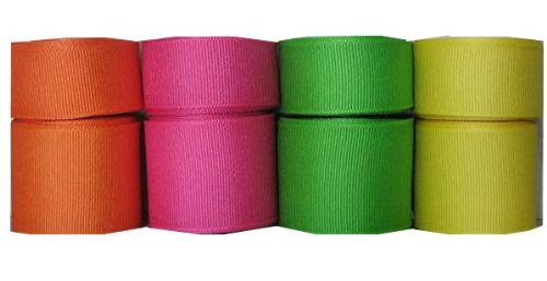 Yds Orange Grosgrain Ribbon (40 Yds Bright Grosgrain Ribbon 7/8 Inch and 1.5 Inch - Orange, Shocking Pink, Apple,)