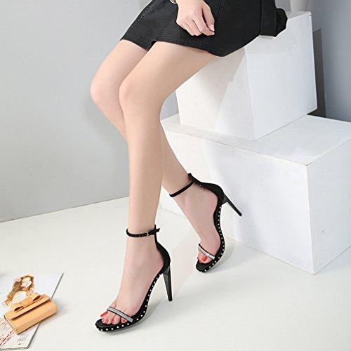 Cheville Inconnu Chaussures Noir Femmes Ouvert Bride Aiguille Strass Sandales Talons Clouté Escarpin avec Hauts C4CxBqZwfz