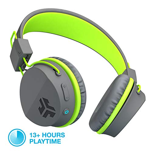 JLab Audio Neon Bluetooth Folding On-Ear Headphones | Wireless Headphones | 13 Hour Bluetooth Playtime | Noise Isolation | 40mm Neodymium Drivers | C3 Sound (Crystal Clear Clarity) | Graphite/Green